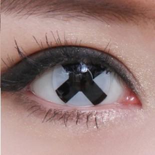 Карнавальные линзы - Черно-белый крест